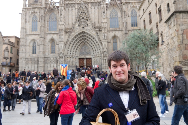 Catalonia independence supporter and Sardana dance fundraiser Guillem Martinez outside Barcelona Cathedral on Sunday, November 9.